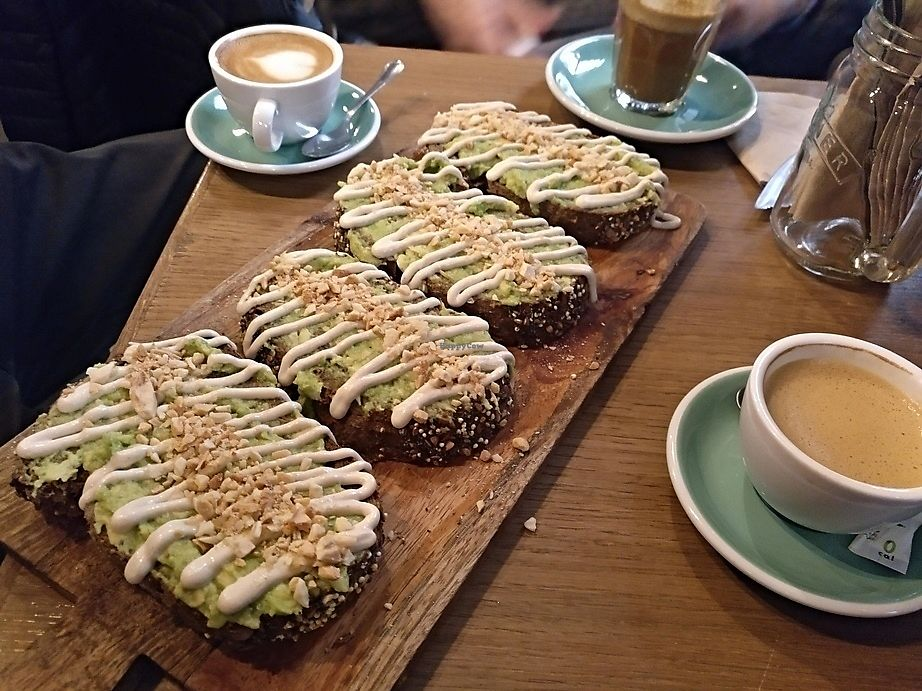 """Photo of Pum Pum Cafe  by <a href=""""/members/profile/LeFunks"""">LeFunks</a> <br/>Avocado + tahini + almond toast <br/> February 23, 2018  - <a href='/contact/abuse/image/73911/362785'>Report</a>"""