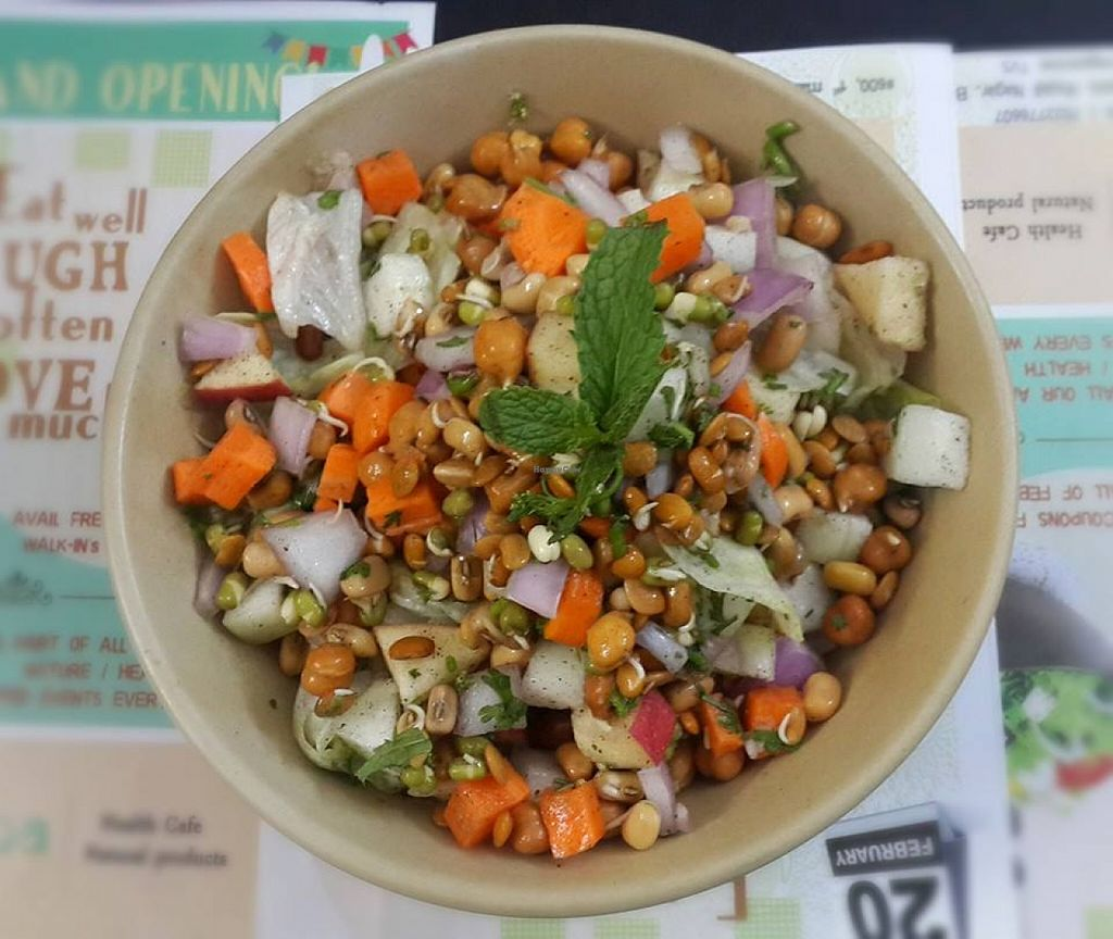 """Photo of Prana Health Cafe  by <a href=""""/members/profile/VarshaR"""">VarshaR</a> <br/>A yummy colorful vegan salad with a lot of different sprouts and veggies to make it a scrumptious meal.  <br/> May 22, 2016  - <a href='/contact/abuse/image/73974/150168'>Report</a>"""