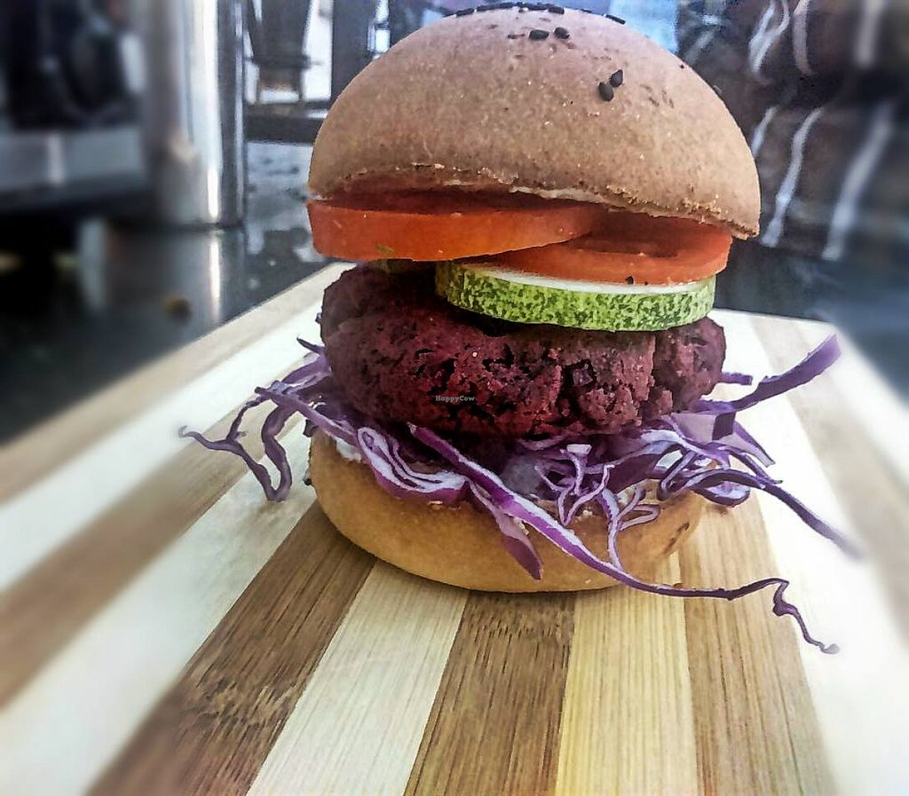 """Photo of Prana Health Cafe  by <a href=""""/members/profile/VarshaR"""">VarshaR</a> <br/>Our Beetroot & Sweet Potato Burger! #burger #veggie Beetroot Surprise!! <br/> May 22, 2016  - <a href='/contact/abuse/image/73974/150170'>Report</a>"""