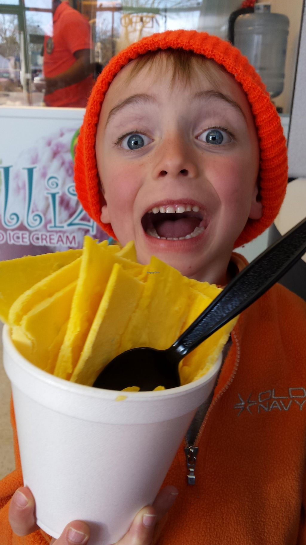 """Photo of Rolliz Fried Ice Cream  by <a href=""""/members/profile/American%20Vegan"""">American Vegan</a> <br/>Clint loves the vegan mango ice cream <br/> May 22, 2016  - <a href='/contact/abuse/image/74032/150399'>Report</a>"""