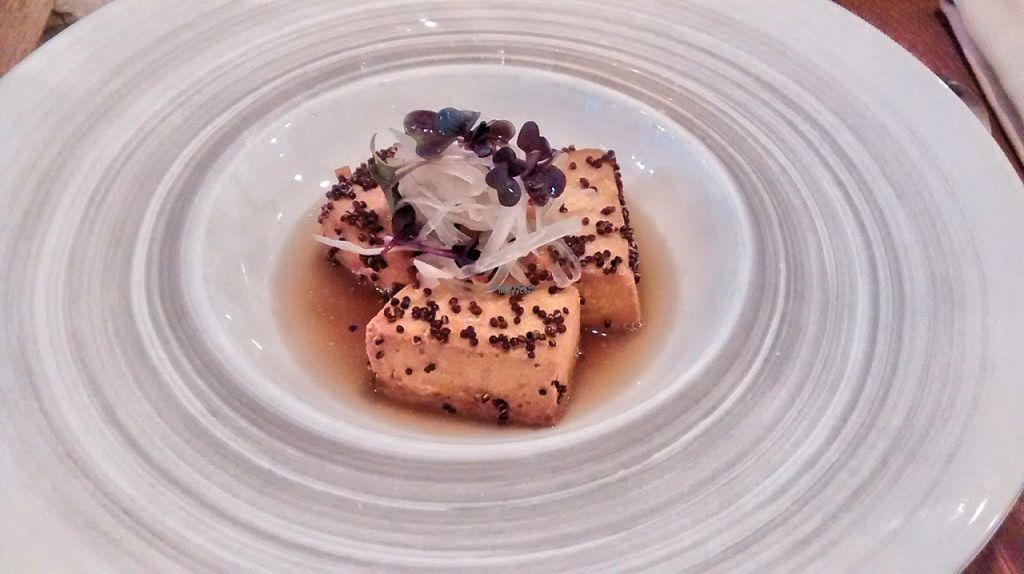 """Photo of Sense Eat  by <a href=""""/members/profile/JonJon"""">JonJon</a> <br/>Tofu in a quinoa crust, stewed plums, spicy thai soup <br/> August 23, 2016  - <a href='/contact/abuse/image/74108/171114'>Report</a>"""