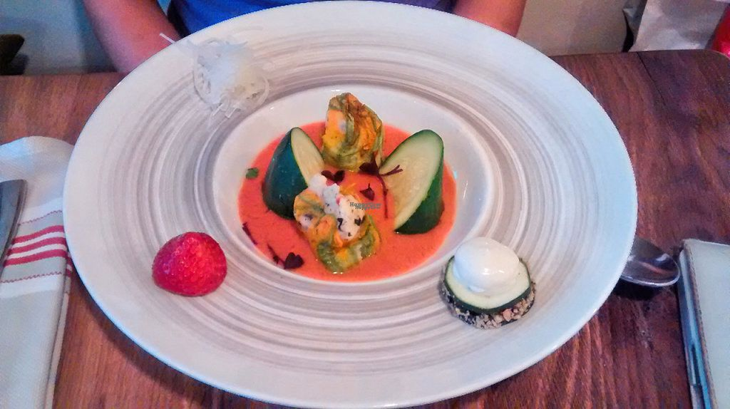 """Photo of Sense Eat  by <a href=""""/members/profile/JonJon"""">JonJon</a> <br/>Zucchini flowers stuffed with tabbouleh, gazpacho of tomato and strawberry <br/> August 23, 2016  - <a href='/contact/abuse/image/74108/171115'>Report</a>"""