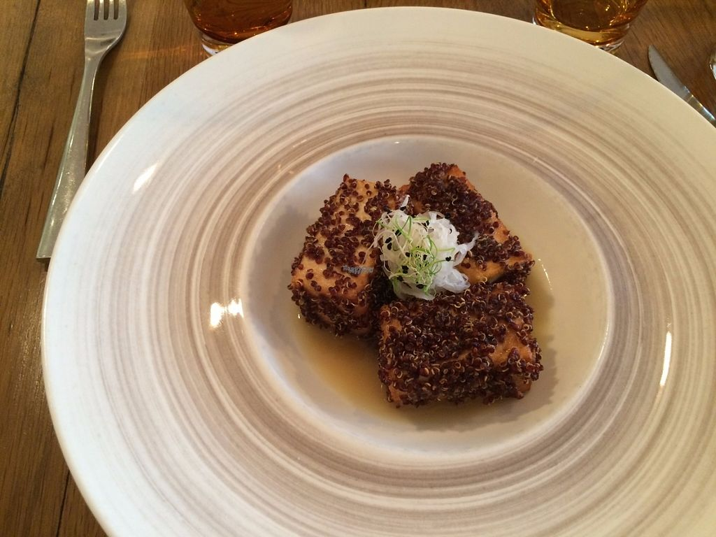 """Photo of Sense Eat  by <a href=""""/members/profile/LisaCupcake"""">LisaCupcake</a> <br/>Quinoa-crusted tofu. Bland, despite the citrus sauce, and very small portion for 18 euros <br/> November 1, 2016  - <a href='/contact/abuse/image/74108/185831'>Report</a>"""