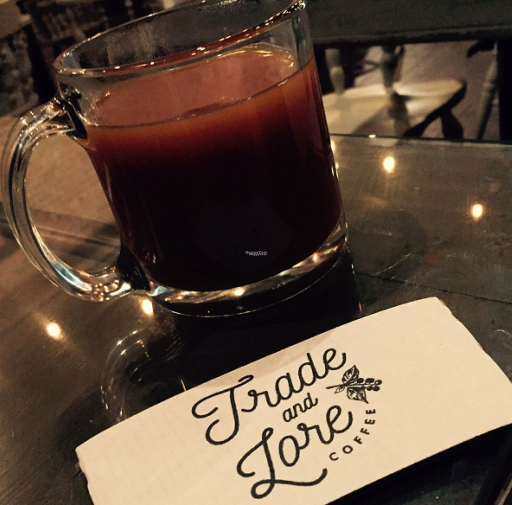 """Photo of Trade and Lore Coffee  by <a href=""""/members/profile/halfthejob"""">halfthejob</a> <br/>Asheville's best cup of coffee with a little almond milk <br/> October 18, 2016  - <a href='/contact/abuse/image/74158/213578'>Report</a>"""