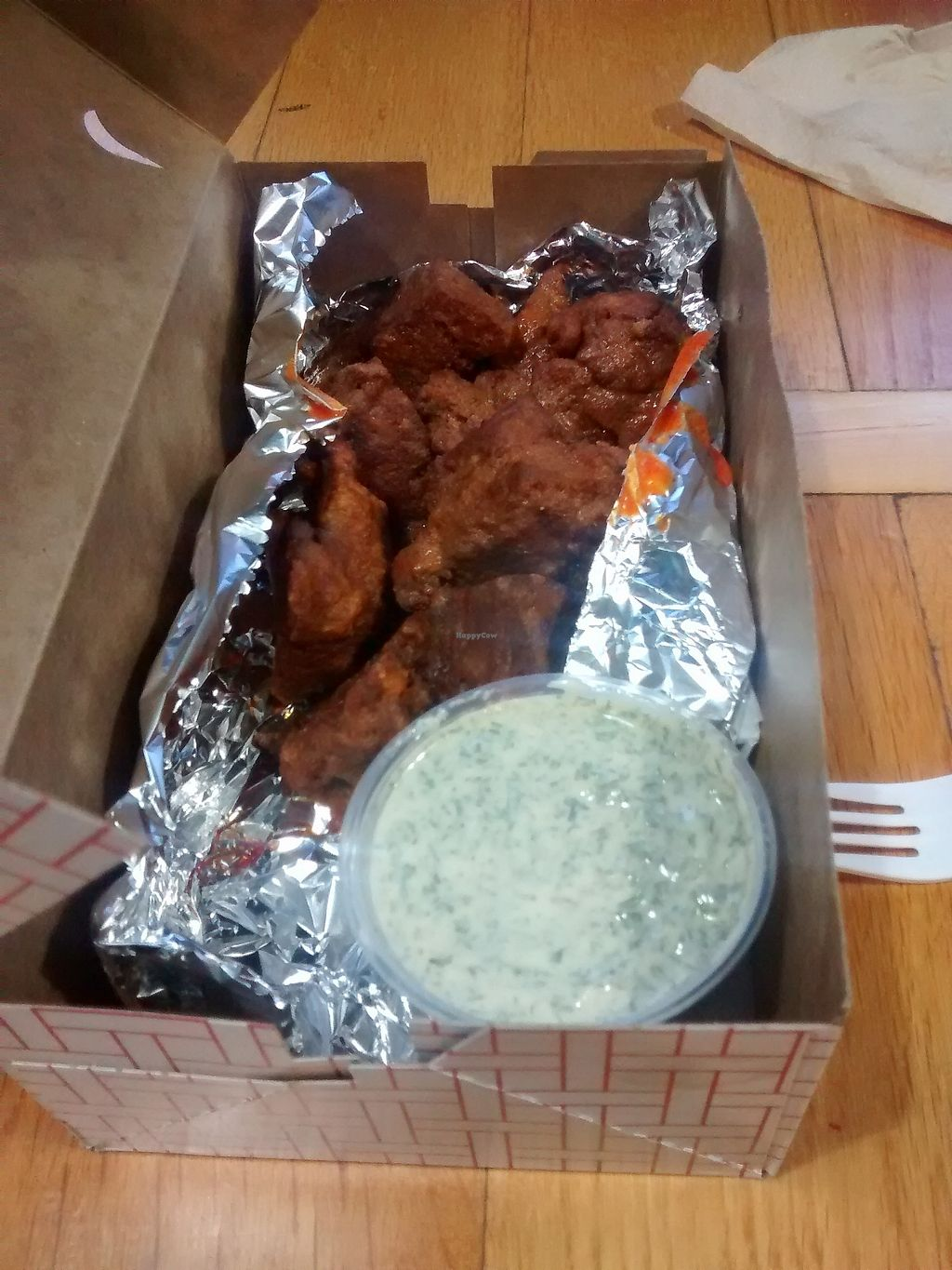 "Photo of Allentown Pizza   by <a href=""/members/profile/lentils_af"">lentils_af</a> <br/>Vegan wings with dill dipping sauce.  <br/> October 9, 2017  - <a href='/contact/abuse/image/74160/313651'>Report</a>"