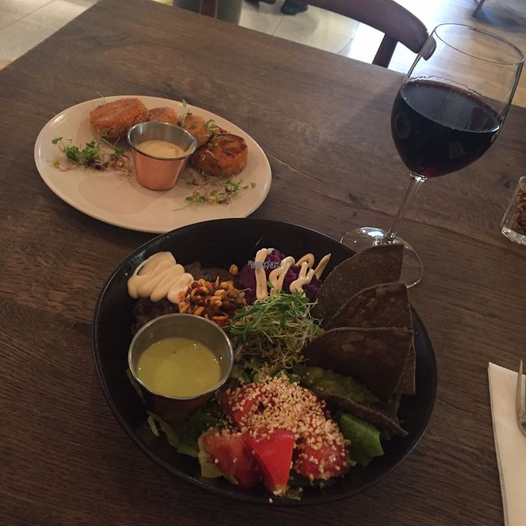 """Photo of Farmacy  by <a href=""""/members/profile/Veganmeower"""">Veganmeower</a> <br/>mexican bowl and sweet potato falafels  <br/> October 27, 2016  - <a href='/contact/abuse/image/74162/184722'>Report</a>"""