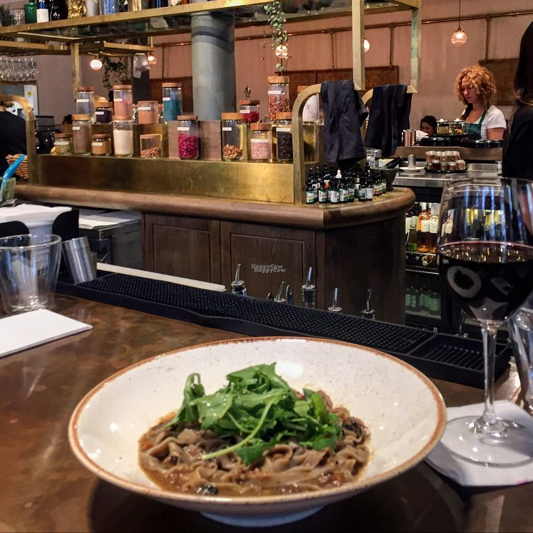 """Photo of Farmacy  by <a href=""""/members/profile/Veganmeower"""">Veganmeower</a> <br/>not the best pic but this mushroom pasta was delicious! <br/> October 27, 2016  - <a href='/contact/abuse/image/74162/184724'>Report</a>"""