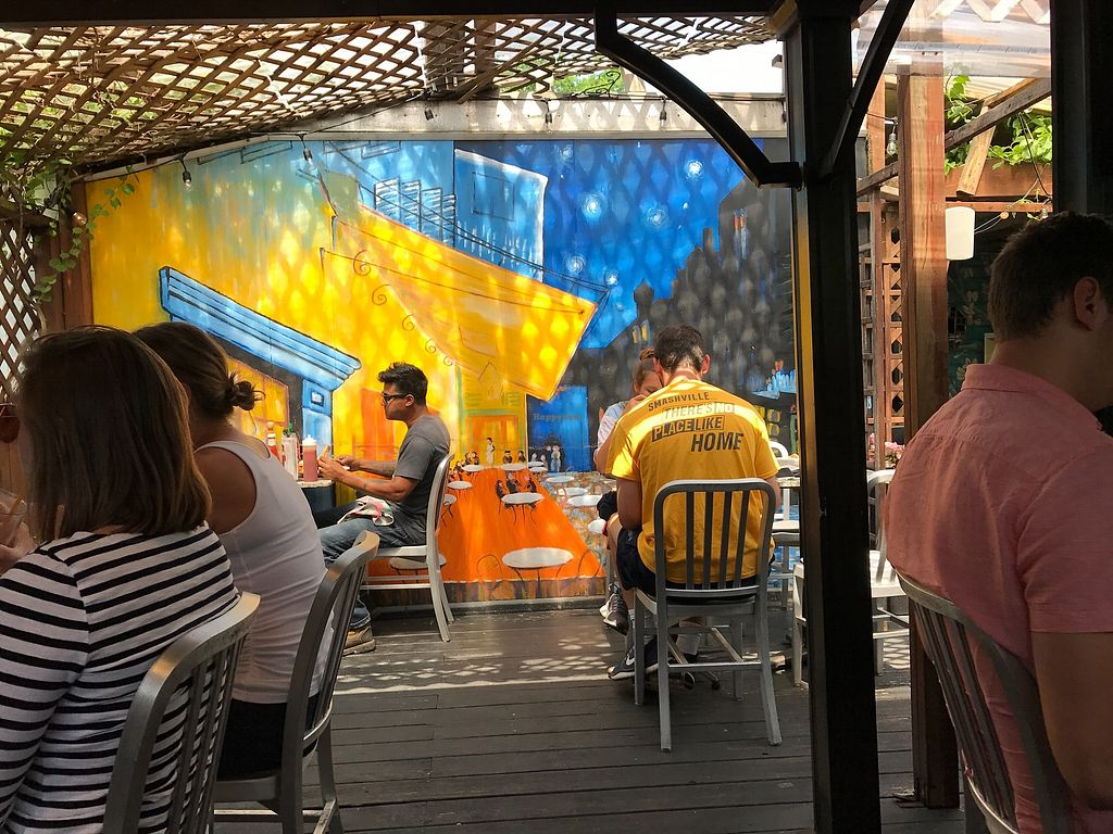 """Photo of Crazy Burger  by <a href=""""/members/profile/Meadows"""">Meadows</a> <br/>The patio is cute and comfortable. Beautiful artwork and even Van Gogh was here, ha ha. The painting has great affect. If it's hot order the frozen lemonade and many flavors to try.  <br/> June 24, 2017  - <a href='/contact/abuse/image/7421/272933'>Report</a>"""