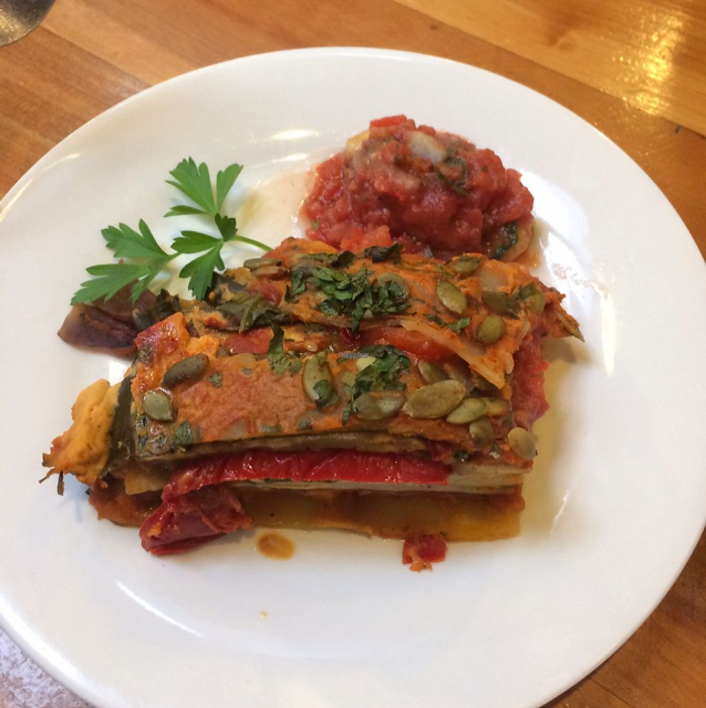 """Photo of Whispers Cafe  by <a href=""""/members/profile/KatyHayward"""">KatyHayward</a> <br/>Vegan Lasagne with a Cashew Nit Cheese Sauce <br/> February 2, 2017  - <a href='/contact/abuse/image/74234/221364'>Report</a>"""
