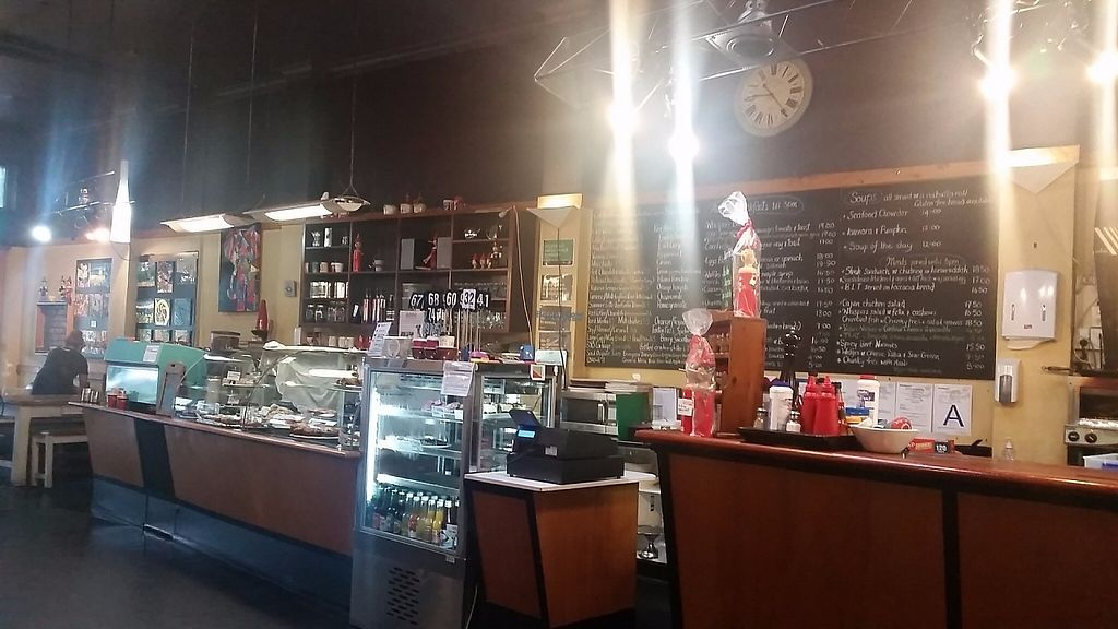 """Photo of Whispers Cafe  by <a href=""""/members/profile/AndyTheVWDude"""">AndyTheVWDude</a> <br/>Whispers Blackboard Menu - Anything Vegan is in green chalk <br/> April 13, 2017  - <a href='/contact/abuse/image/74234/247631'>Report</a>"""