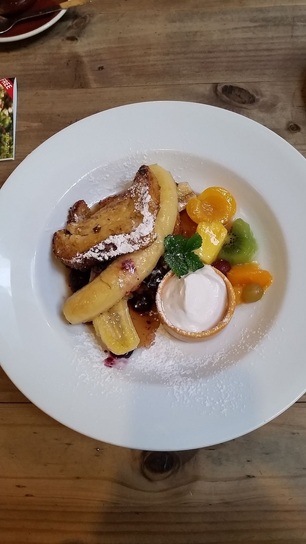 """Photo of Whispers Cafe  by <a href=""""/members/profile/AndyTheVWDude"""">AndyTheVWDude</a> <br/>Vegan French Toast with Coconut cream - Yum! <br/> October 3, 2017  - <a href='/contact/abuse/image/74234/311490'>Report</a>"""