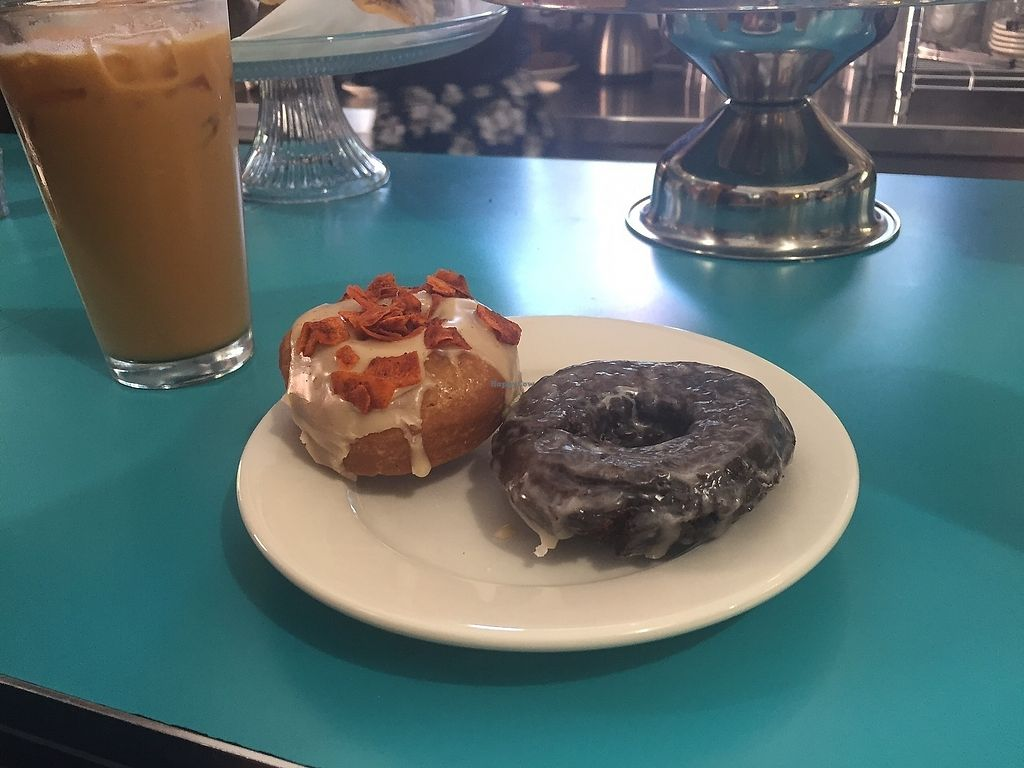 """Photo of The Tasty  by <a href=""""/members/profile/kmanchester306"""">kmanchester306</a> <br/>Maple bacon and Chocolate glazed cake donuts <br/> July 4, 2017  - <a href='/contact/abuse/image/74254/276675'>Report</a>"""