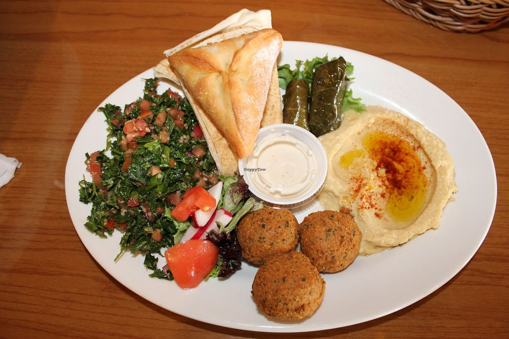 "Photo of Pita Plate  by <a href=""/members/profile/JennyElizabeth"">JennyElizabeth</a> <br/>Pita Plate Sampler {Vegan}: Hummus, Tabouli, Grape Leaves, Falafel, and Spinach Pie <br/> May 26, 2016  - <a href='/contact/abuse/image/74263/150924'>Report</a>"