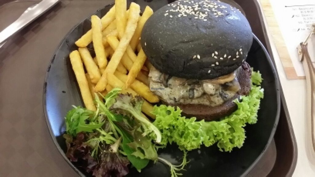 """Photo of CLOSED: GroVe  by <a href=""""/members/profile/KahHwee"""">KahHwee</a> <br/>Swiss mushroom charcoal burger  <br/> June 2, 2016  - <a href='/contact/abuse/image/74279/151865'>Report</a>"""