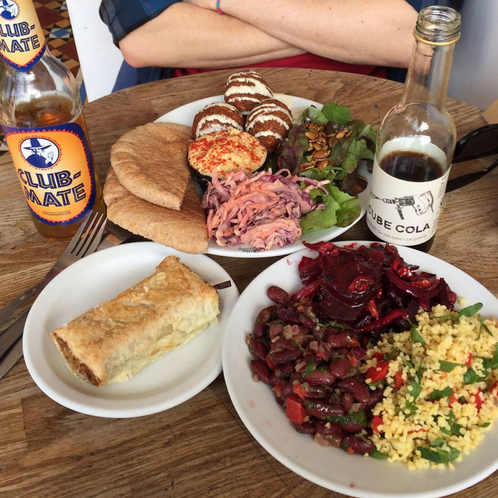 "Photo of Cafe Kino  by <a href=""/members/profile/London_Vegans"">London_Vegans</a> <br/>sausage roll, salad platter, kino falafel <br/> April 15, 2017  - <a href='/contact/abuse/image/7428/248372'>Report</a>"