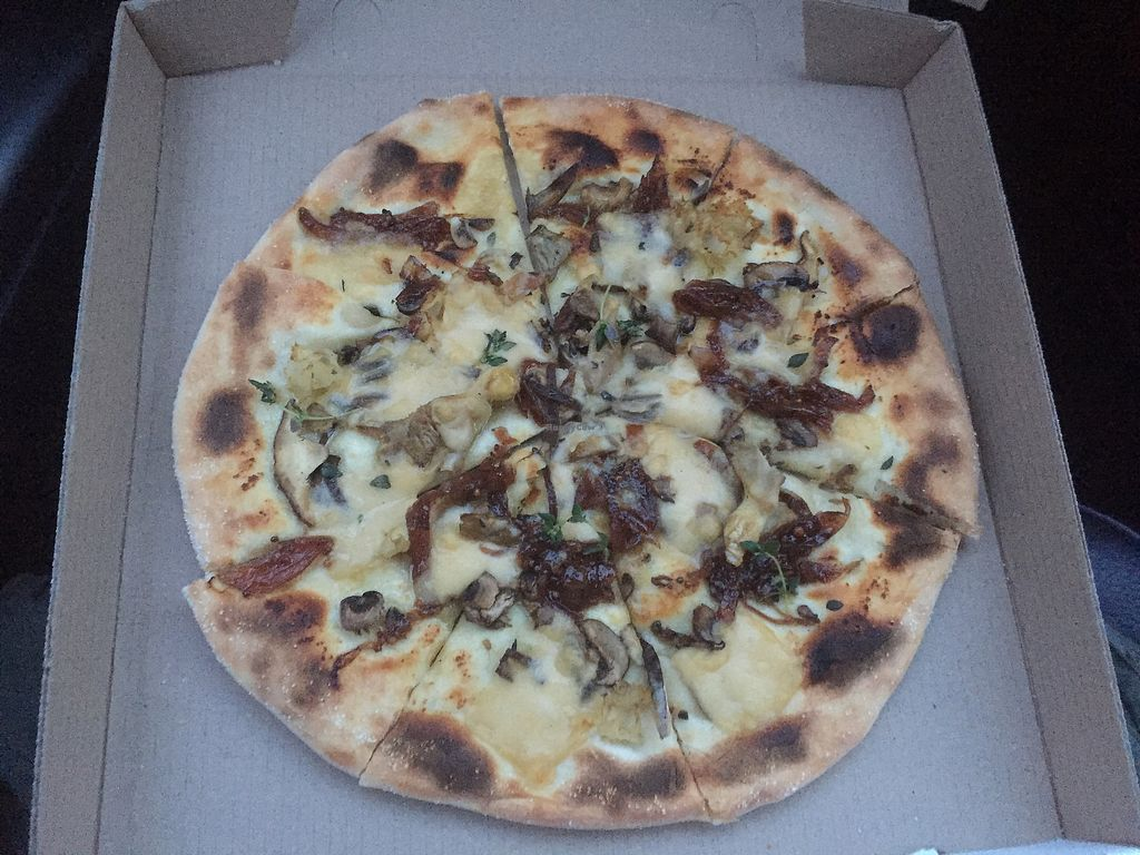"""Photo of Dough Bros  by <a href=""""/members/profile/clairemcrae"""">clairemcrae</a> <br/>Wild Mushroom vegan pizza  <br/> August 20, 2017  - <a href='/contact/abuse/image/74301/294610'>Report</a>"""