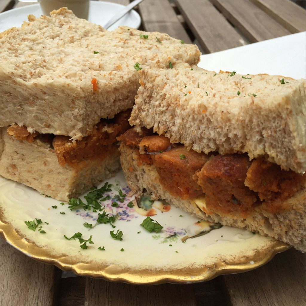 """Photo of CLOSED: Dolly's Vintage Tearoom  by <a href=""""/members/profile/Chris_D"""">Chris_D</a> <br/>Vegan sausage sandwich <br/> June 18, 2016  - <a href='/contact/abuse/image/74331/154666'>Report</a>"""