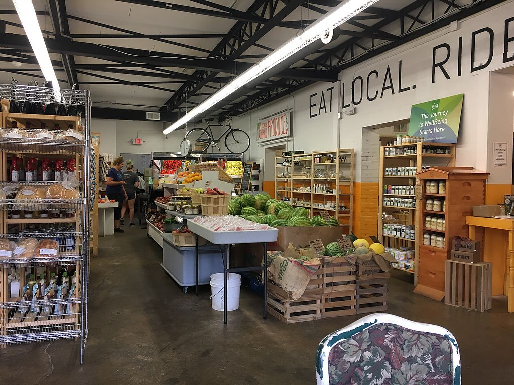 """Photo of Swamp Rabbit Cafe  by <a href=""""/members/profile/turtleveg"""">turtleveg</a> <br/>produce section <br/> August 10, 2017  - <a href='/contact/abuse/image/74366/291188'>Report</a>"""