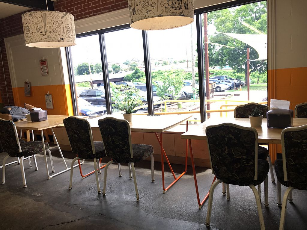 """Photo of Swamp Rabbit Cafe  by <a href=""""/members/profile/turtleveg"""">turtleveg</a> <br/>seating  <br/> August 11, 2017  - <a href='/contact/abuse/image/74366/291377'>Report</a>"""