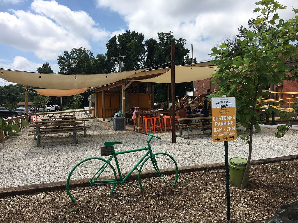 """Photo of Swamp Rabbit Cafe  by <a href=""""/members/profile/turtleveg"""">turtleveg</a> <br/>outdoor seating  <br/> August 11, 2017  - <a href='/contact/abuse/image/74366/291378'>Report</a>"""