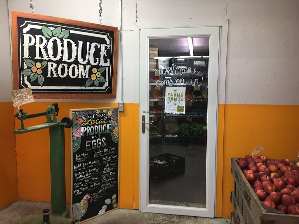 """Photo of Swamp Rabbit Cafe  by <a href=""""/members/profile/turtleveg"""">turtleveg</a> <br/>fresh produce room <br/> August 11, 2017  - <a href='/contact/abuse/image/74366/291379'>Report</a>"""