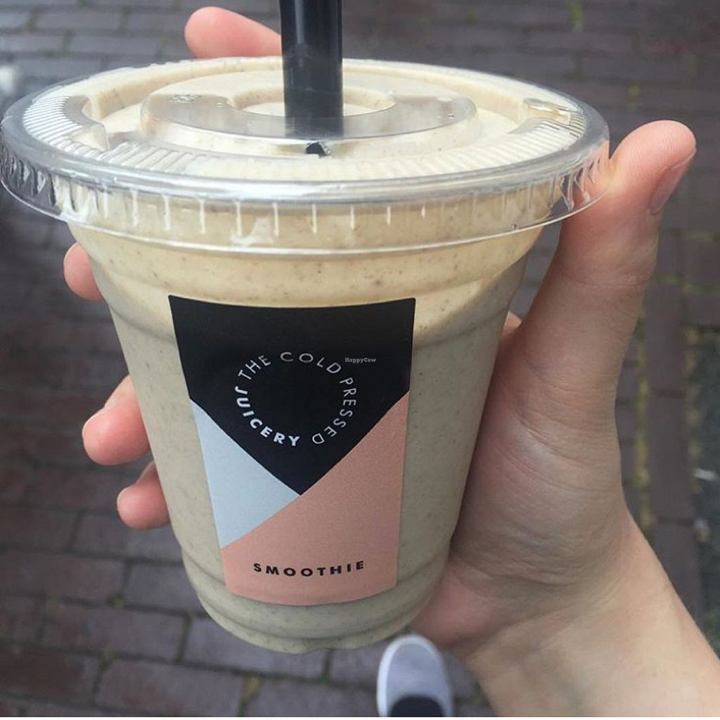 """Photo of The Cold Pressed Juicery - Herengracht  by <a href=""""/members/profile/SaraFitz"""">SaraFitz</a> <br/>The sinner - fresh coconut meat, cinnamon, cashew milk, nut caramel and vanilla <br/> July 30, 2016  - <a href='/contact/abuse/image/74394/163358'>Report</a>"""