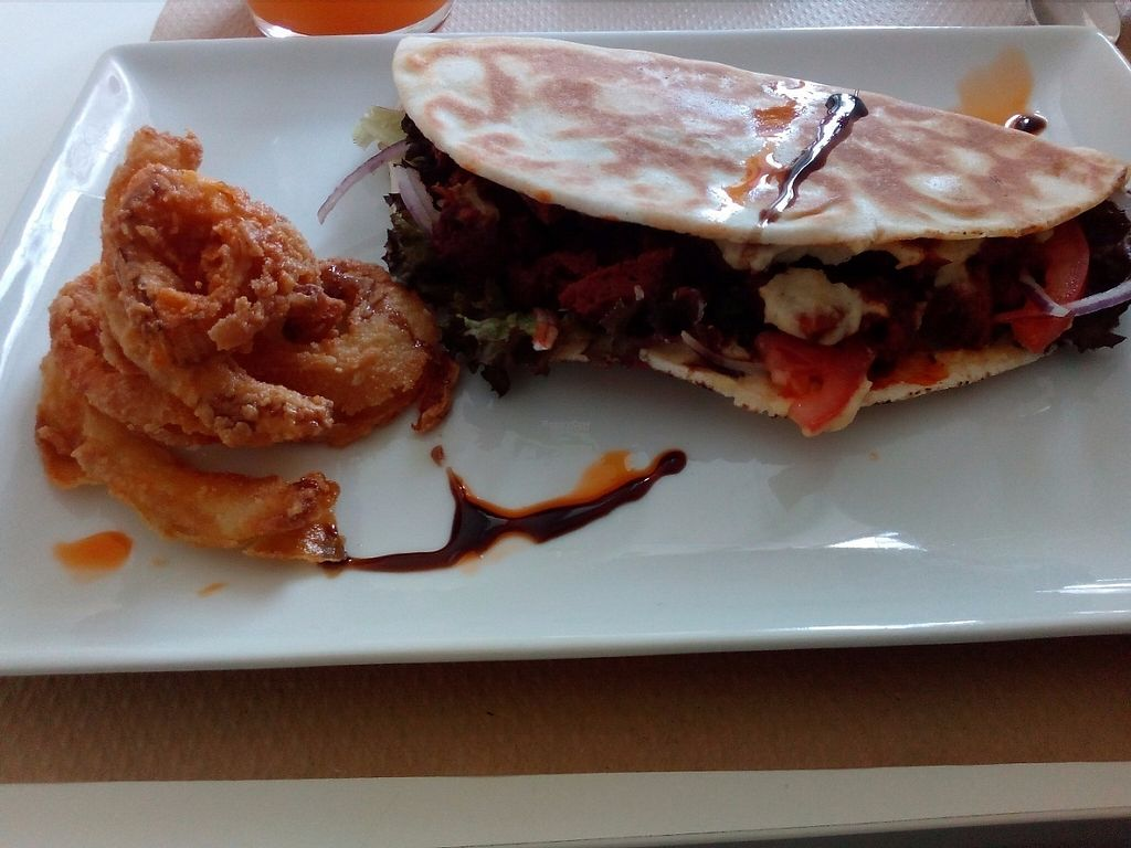 """Photo of Nomit  by <a href=""""/members/profile/veggie_htx"""">veggie_htx</a> <br/>Seitan pita with tempura onion rings <br/> March 15, 2017  - <a href='/contact/abuse/image/74396/236895'>Report</a>"""