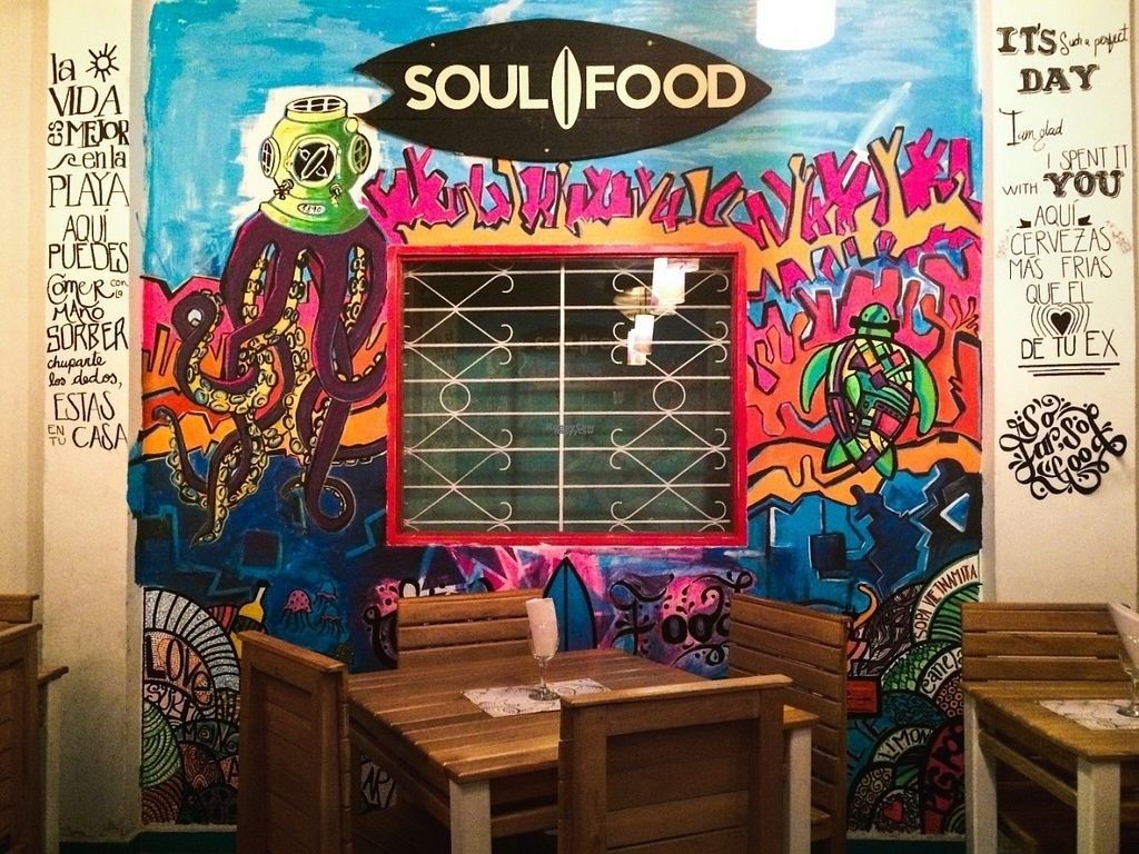 """Photo of Soul Food  by <a href=""""/members/profile/ElleJohanna"""">ElleJohanna</a> <br/>Restaurant interior with mural <br/> August 11, 2016  - <a href='/contact/abuse/image/74442/167744'>Report</a>"""