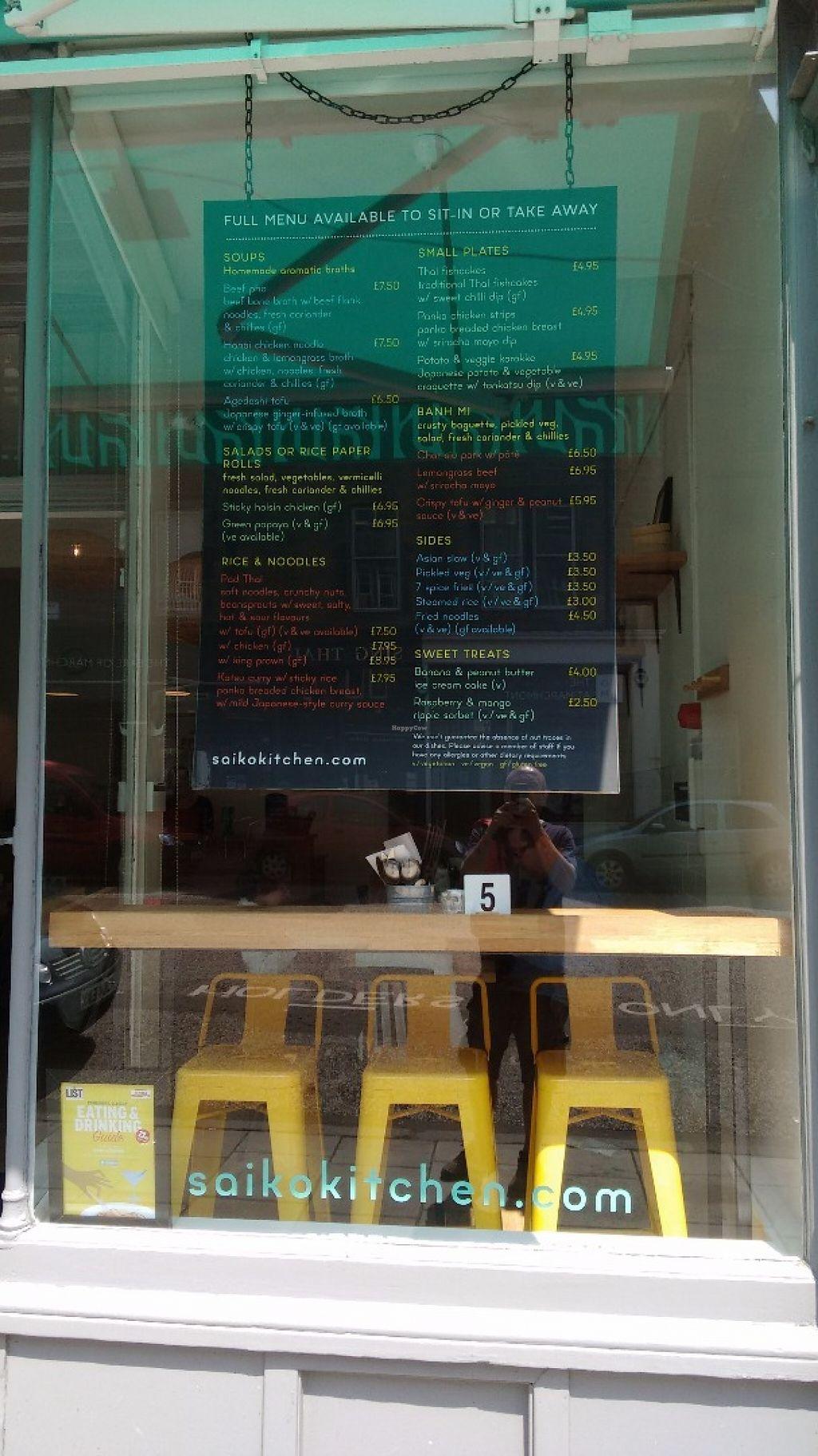 "Photo of Saiko Kitchen  by <a href=""/members/profile/craigmc"">craigmc</a> <br/>Menu <br/> June 8, 2016  - <a href='/contact/abuse/image/74509/152977'>Report</a>"