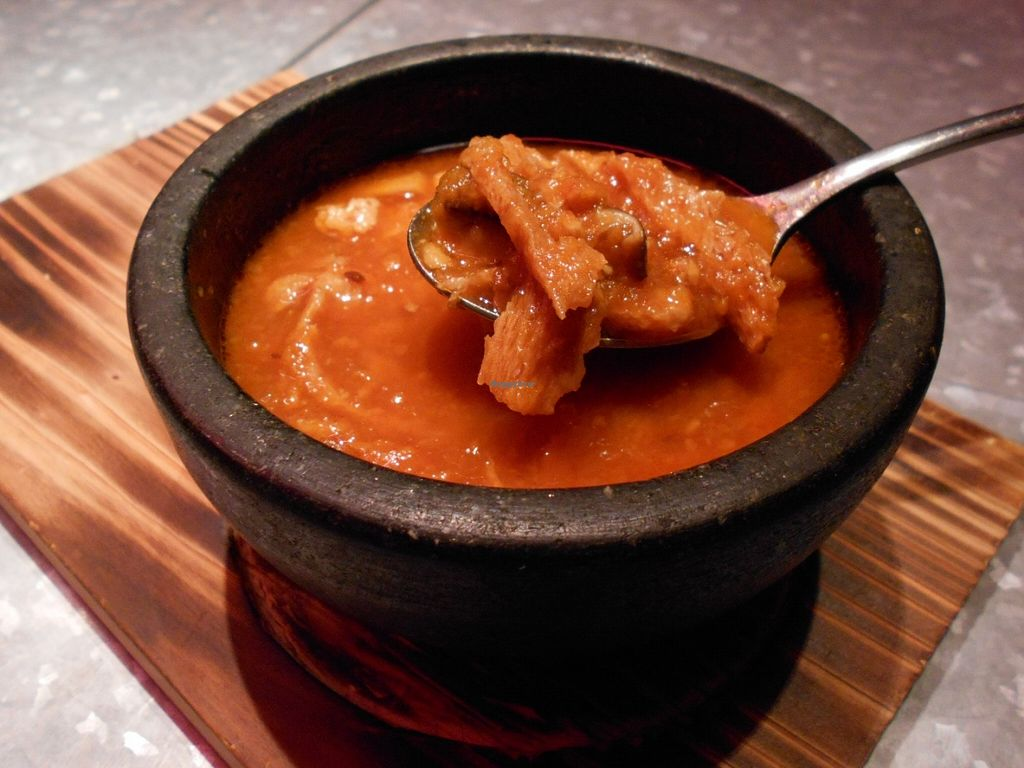 Photo of Kitsune  by jrbradley <br/>They call this the 'Soy Meat Tripper', it's like a tomato based stew, full of soy meat and mushrooms <br/> June 15, 2016  - <a href='/contact/abuse/image/74534/154037'>Report</a>