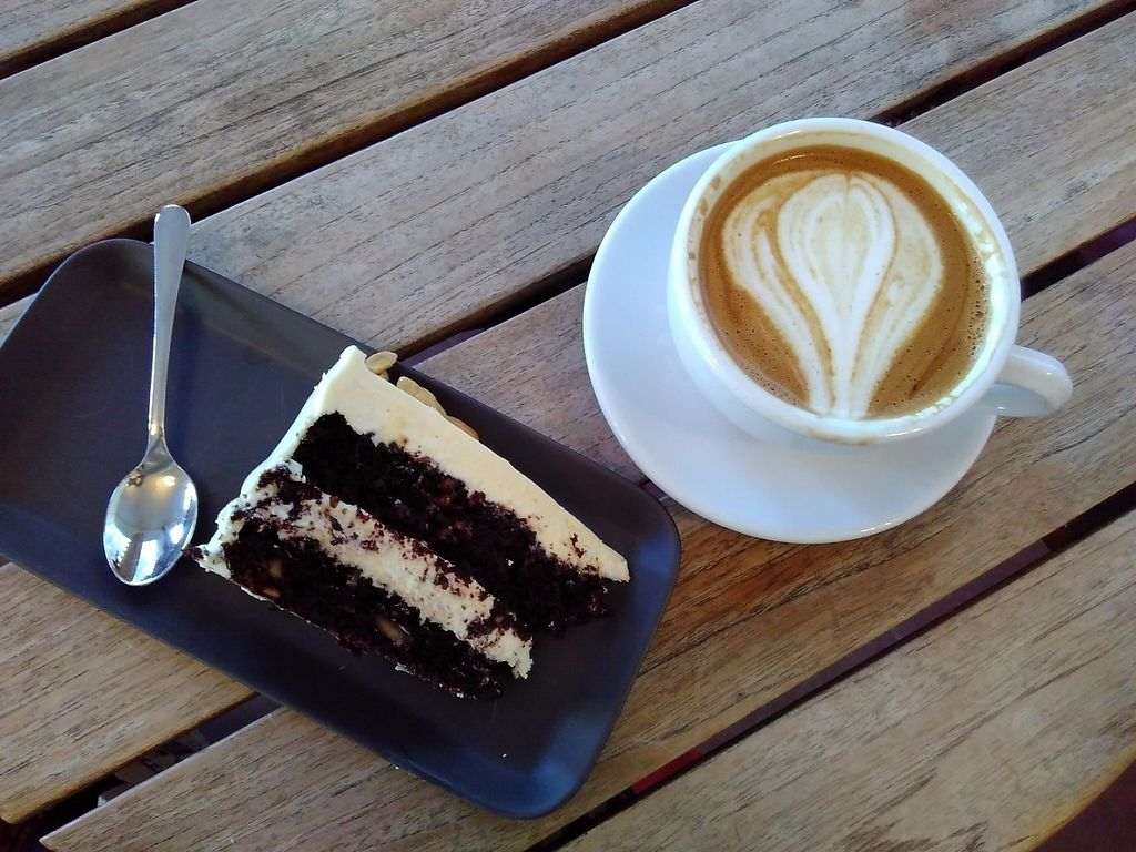 "Photo of Sävy Coffee Bar  by <a href=""/members/profile/Lapa"">Lapa</a> <br/>Vegan snickers cake and oatmilk latte <br/> March 6, 2017  - <a href='/contact/abuse/image/74541/233441'>Report</a>"