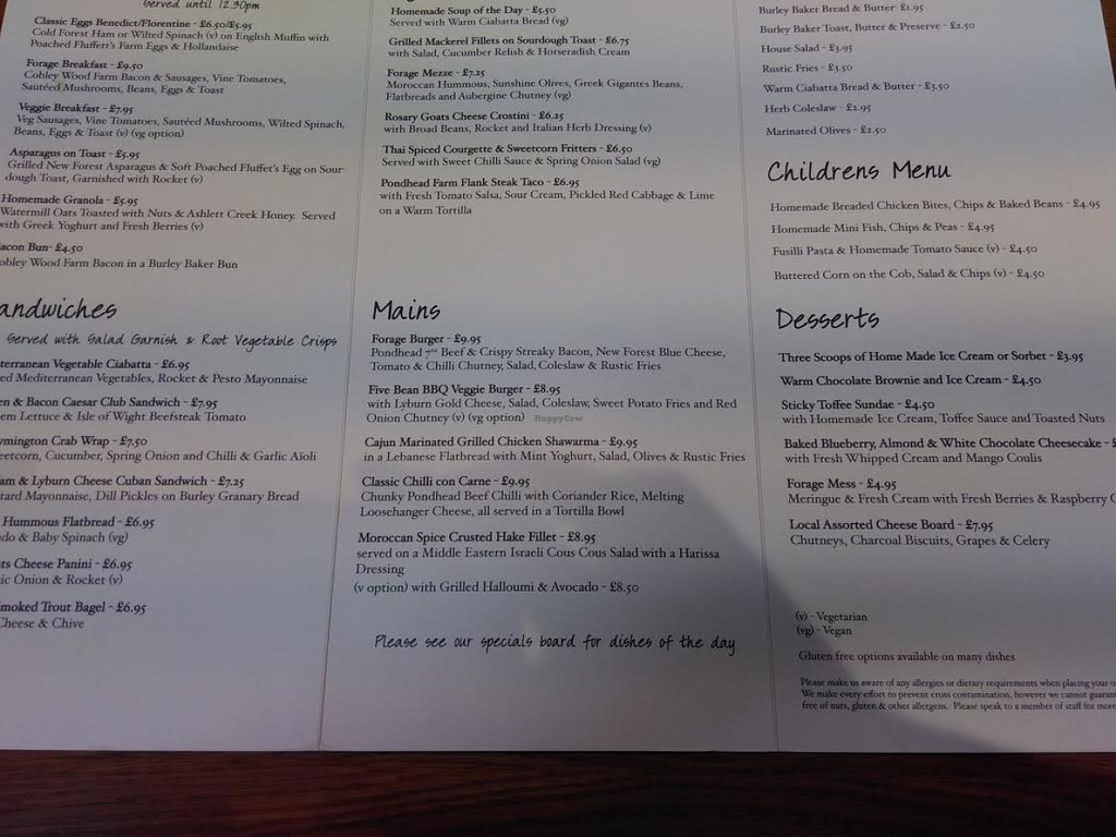 """Photo of The Forage  by <a href=""""/members/profile/starcide"""">starcide</a> <br/>I took a quick snap of the menu so you can see the vegan items are clearly marked <br/> June 9, 2016  - <a href='/contact/abuse/image/74543/153045'>Report</a>"""