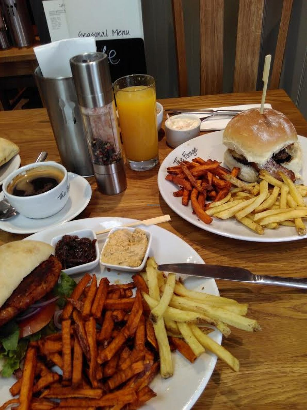 """Photo of The Forage  by <a href=""""/members/profile/starcide"""">starcide</a> <br/>Vegan option bean burger is in the lower left <br/> June 9, 2016  - <a href='/contact/abuse/image/74543/153054'>Report</a>"""