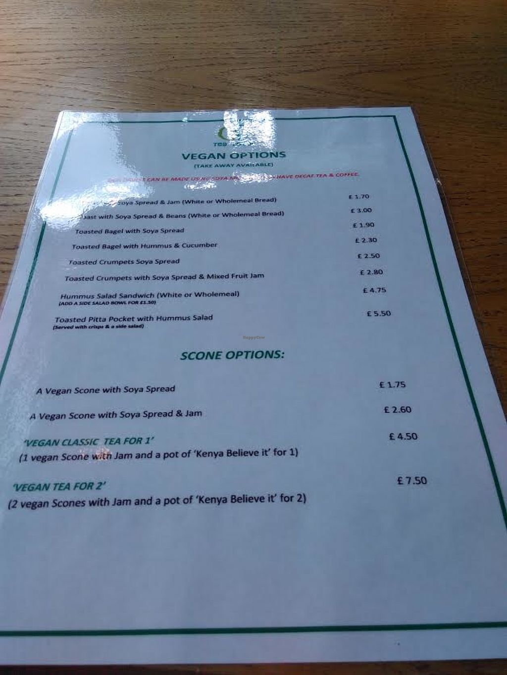 """Photo of Tea Total  by <a href=""""/members/profile/starcide"""">starcide</a> <br/>S shot of the separate vegan menu <br/> June 10, 2016  - <a href='/contact/abuse/image/74544/153251'>Report</a>"""