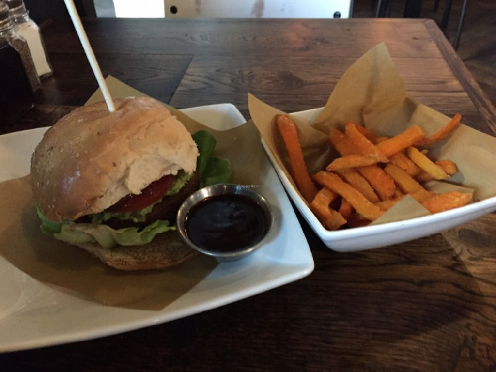 """Photo of CLOSED: Handmade Burger Company  by <a href=""""/members/profile/Chris_D"""">Chris_D</a> <br/>Vegan burger with sweet potato fries <br/> June 1, 2016  - <a href='/contact/abuse/image/74552/151815'>Report</a>"""