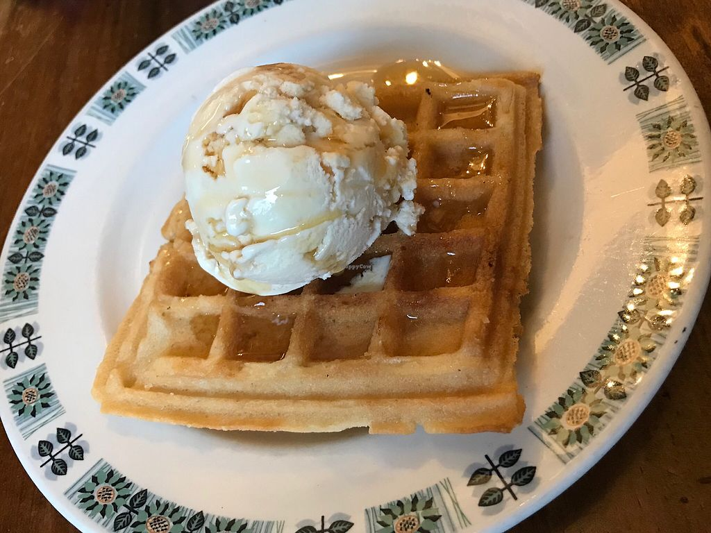 """Photo of Ice Shack   by <a href=""""/members/profile/VickiWanSlattery"""">VickiWanSlattery</a> <br/>Gluten free waffle with salted caramel ice cream and maple syrup  <br/> October 14, 2017  - <a href='/contact/abuse/image/74553/315166'>Report</a>"""