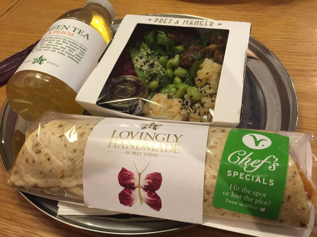 """Photo of Pret A Manger - Great Tower St  by <a href=""""/members/profile/MariaBorgensgaard"""">MariaBorgensgaard</a> <br/>vegan African wrap and sushi salad  <br/> June 24, 2016  - <a href='/contact/abuse/image/74560/155941'>Report</a>"""