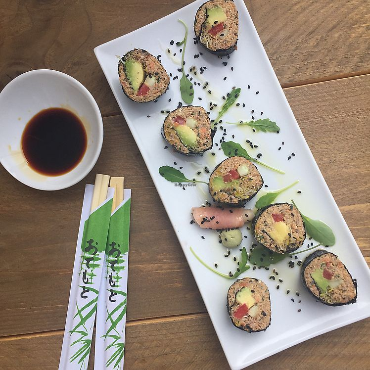 """Photo of Gioia Plant-Based Cuisine  by <a href=""""/members/profile/JudyNadel"""">JudyNadel</a> <br/>mock sushi  <br/> July 24, 2017  - <a href='/contact/abuse/image/74628/284393'>Report</a>"""