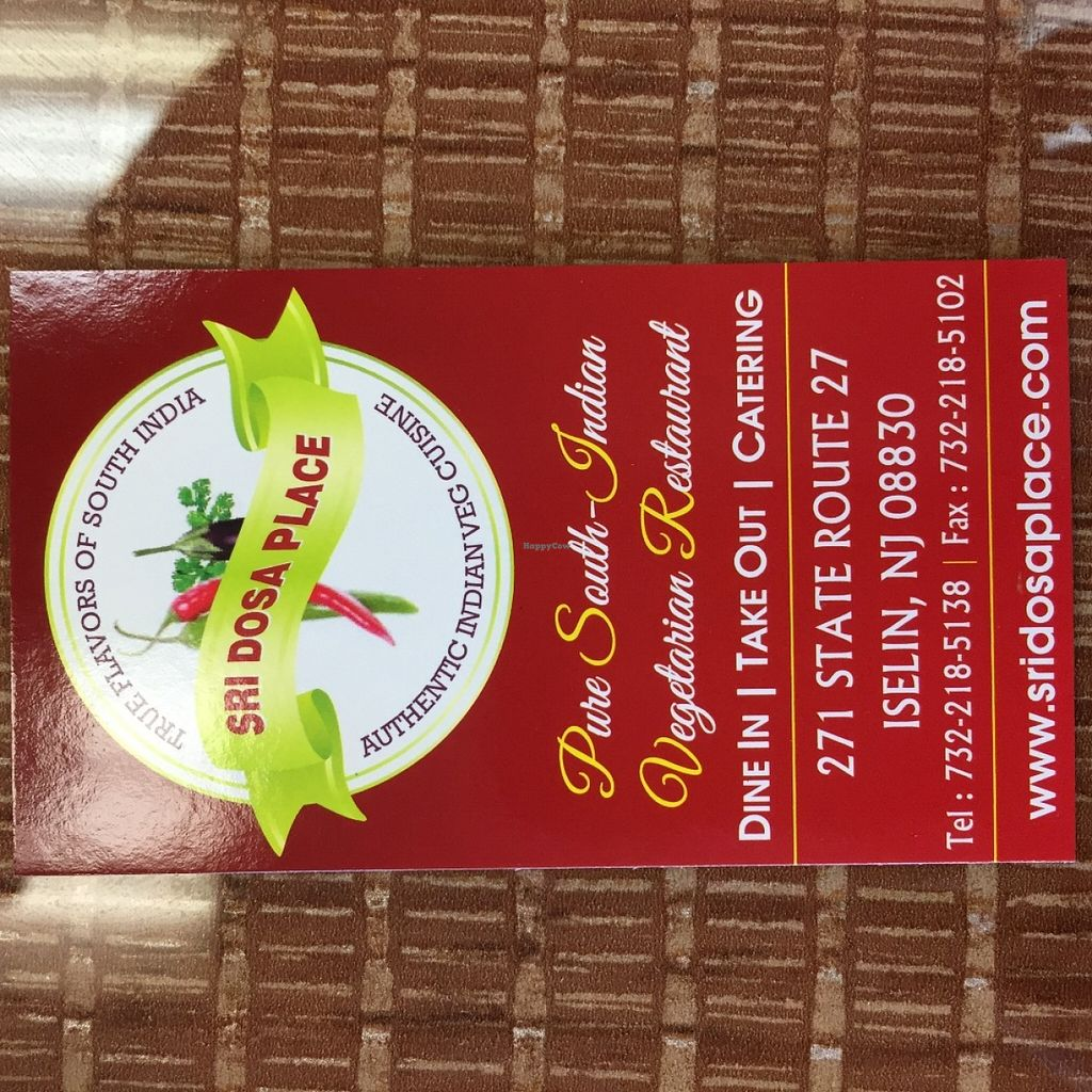 """Photo of Sri Dosa Place  by <a href=""""/members/profile/SavoyTruffle"""">SavoyTruffle</a> <br/>Business card <br/> June 8, 2016  - <a href='/contact/abuse/image/74653/152910'>Report</a>"""
