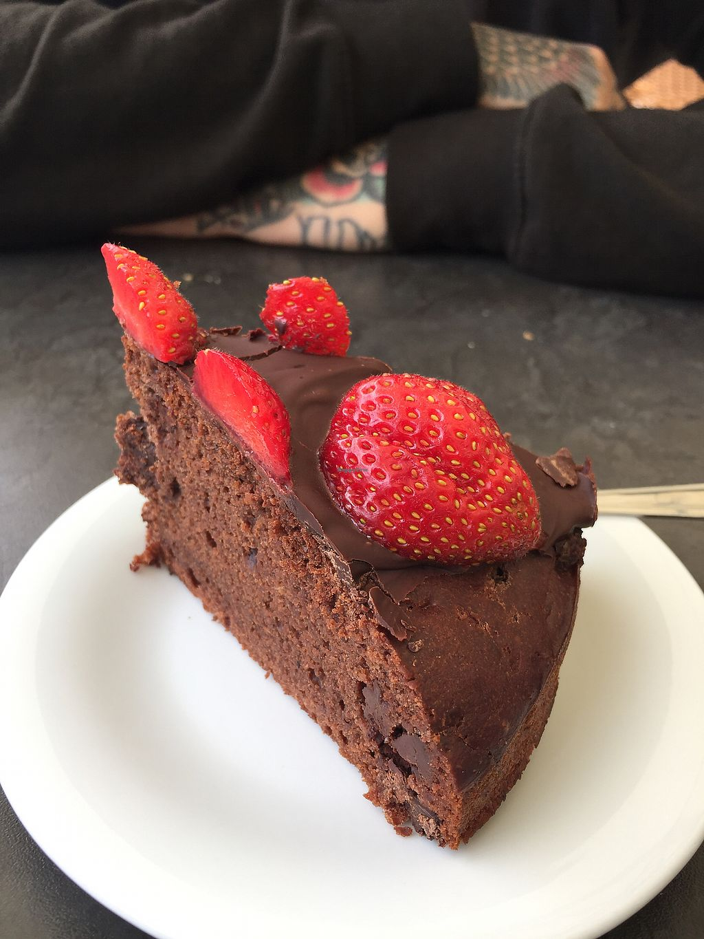 """Photo of Evka Vegebar  by <a href=""""/members/profile/JuneCarter"""">JuneCarter</a> <br/>Vegan Chocolate cake :) <br/> July 16, 2017  - <a href='/contact/abuse/image/74691/281057'>Report</a>"""