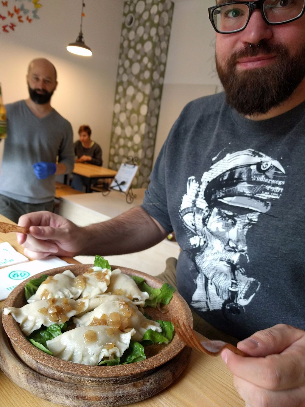 """Photo of Evka Vegebar  by <a href=""""/members/profile/conny515"""">conny515</a> <br/>Wenn ate the piroggi with potato/parsley filling. The owner told us that the Plate can be eaten, too <br/> October 4, 2017  - <a href='/contact/abuse/image/74691/311698'>Report</a>"""
