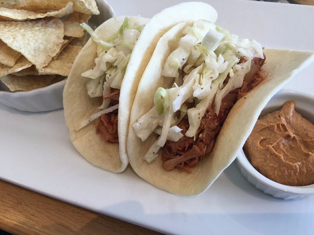 """Photo of CLOSED: Root  by <a href=""""/members/profile/TraciH"""">TraciH</a> <br/>BBQ jackfruit tacos with chips and chili """"cheese"""" dip (spicy - yum!) <br/> July 8, 2016  - <a href='/contact/abuse/image/74712/158455'>Report</a>"""