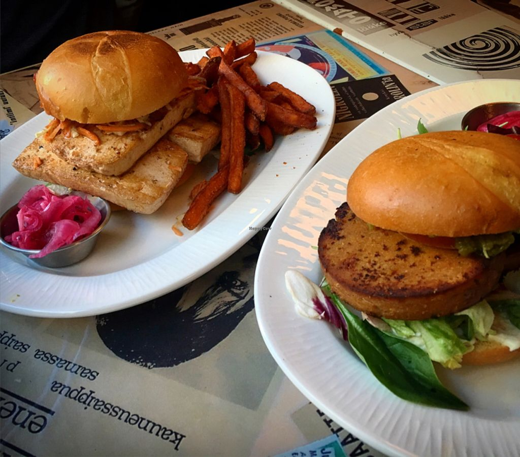 """Photo of Sävel  by <a href=""""/members/profile/SeitanSeitanSeitan"""">SeitanSeitanSeitan</a> <br/>Tofu double and seitan burgers <br/> July 8, 2016  - <a href='/contact/abuse/image/74719/158370'>Report</a>"""