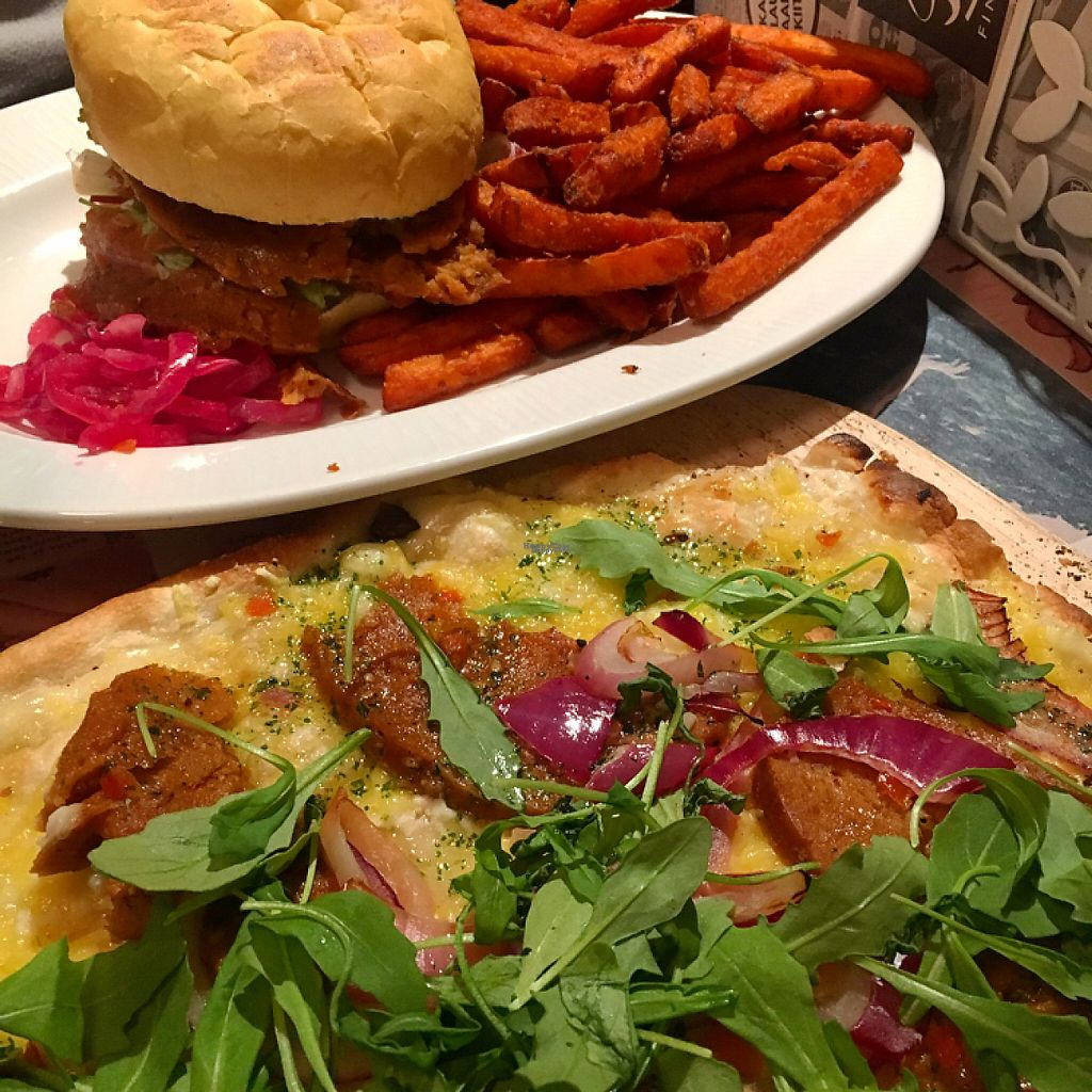 """Photo of Sävel  by <a href=""""/members/profile/SeitanSeitanSeitan"""">SeitanSeitanSeitan</a> <br/>Seitan flambee (vegan and so so good) and a seitan burger <br/> April 12, 2017  - <a href='/contact/abuse/image/74719/247337'>Report</a>"""