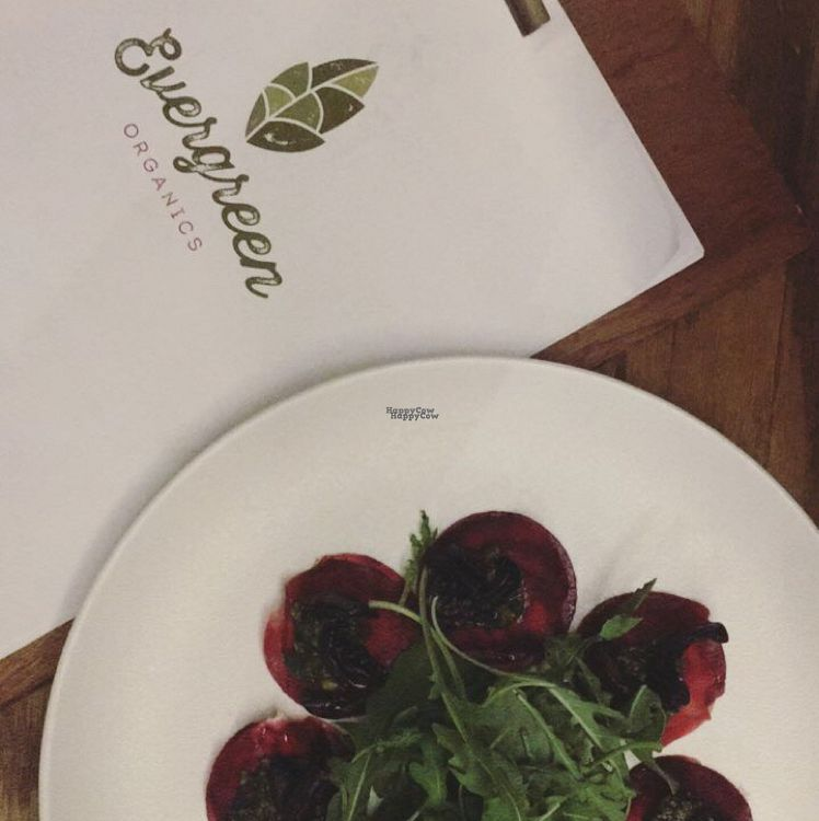 "Photo of Evergreen Organics  by <a href=""/members/profile/Abdulaziz"">Abdulaziz</a> <br/>Beetroot mushroom ravioli <br/> September 9, 2016  - <a href='/contact/abuse/image/74739/174572'>Report</a>"