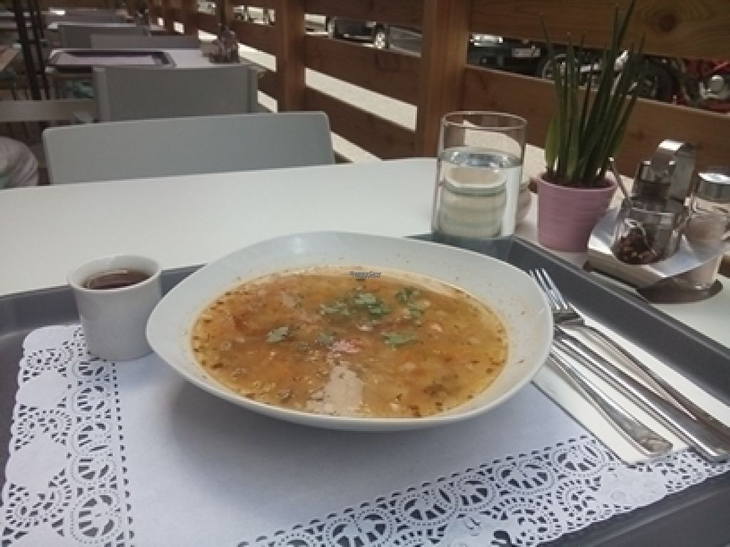 """Photo of Uli's Veganeria  by <a href=""""/members/profile/richie"""">richie</a> <br/>Potato/Leek soup <br/> August 3, 2016  - <a href='/contact/abuse/image/74750/164979'>Report</a>"""