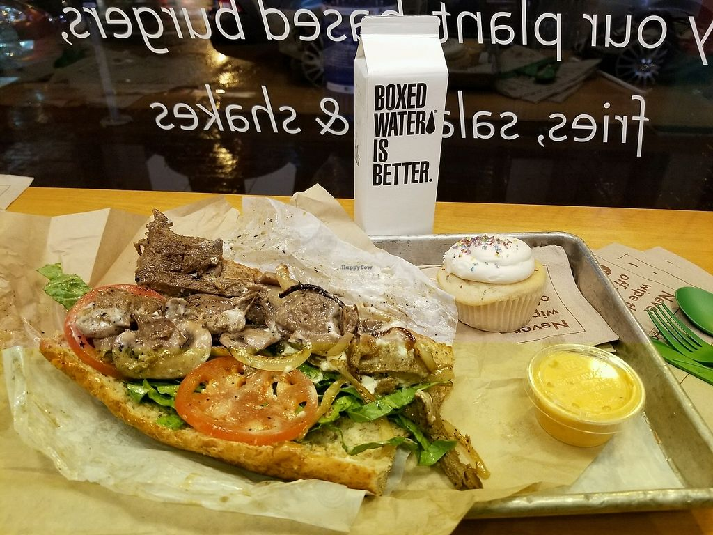 """Photo of HipCityVeg  by <a href=""""/members/profile/LolaBelle"""">LolaBelle</a> <br/>Philly steak sandwich and vanilla cupcake? <br/> March 2, 2018  - <a href='/contact/abuse/image/74759/365872'>Report</a>"""