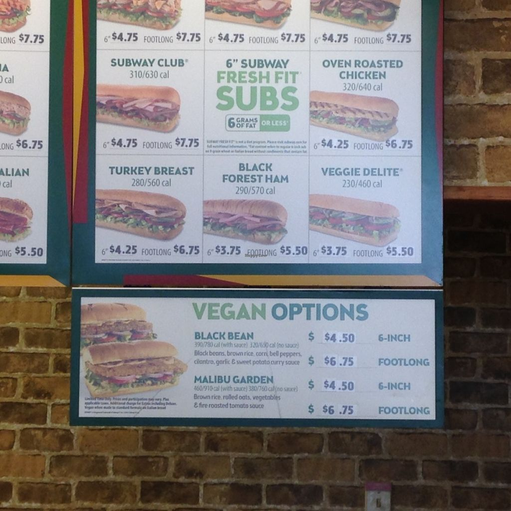 """Photo of Subway  by <a href=""""/members/profile/Hfolan"""">Hfolan</a> <br/>It even says Vegan on the sign! <br/> June 7, 2016  - <a href='/contact/abuse/image/74764/152765'>Report</a>"""
