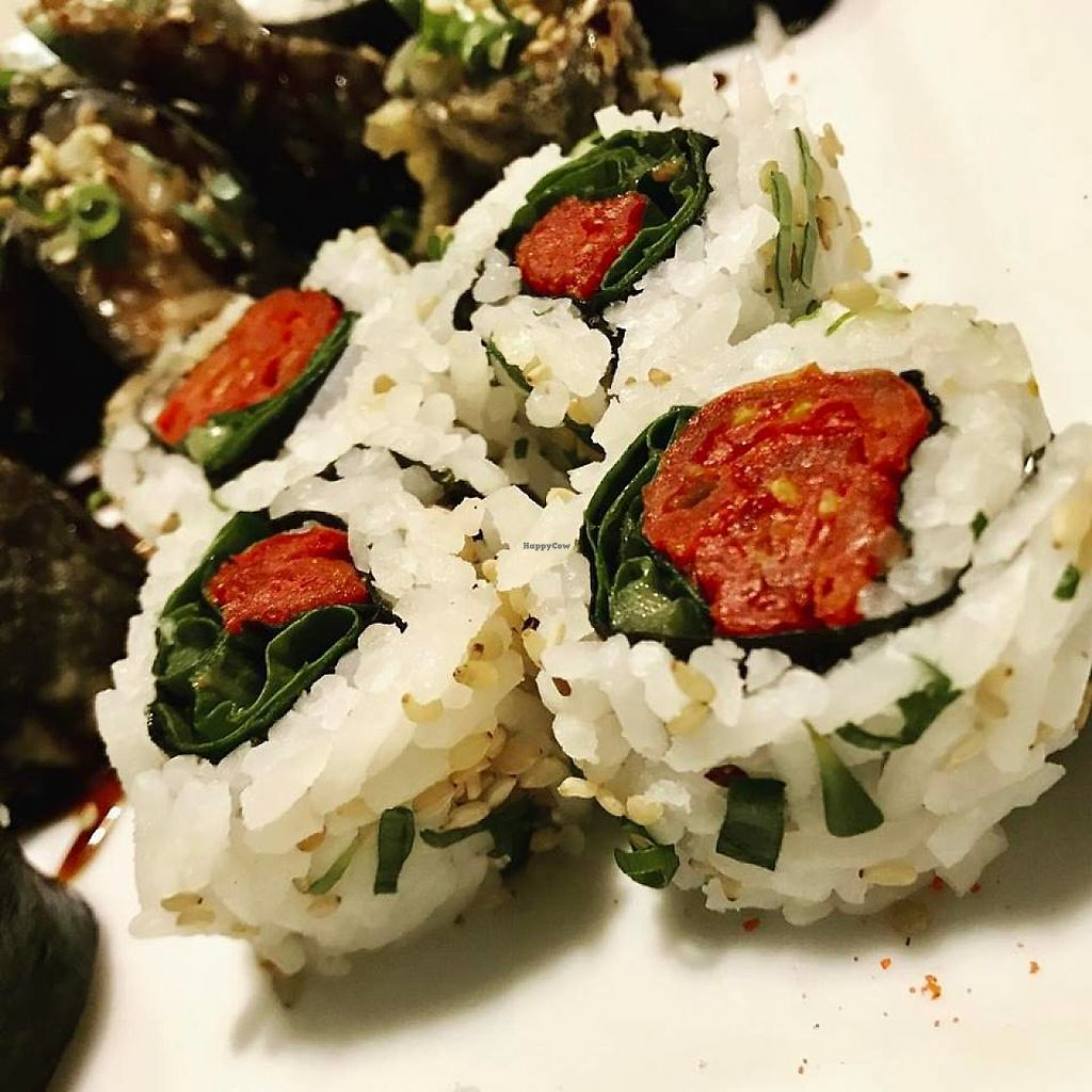 """Photo of Bar Seu Vagem  by <a href=""""/members/profile/EricLorensattoCamarg"""">EricLorensattoCamarg</a> <br/>vegan sushis: dried tomato with garlic cream <br/> May 21, 2017  - <a href='/contact/abuse/image/74776/261087'>Report</a>"""