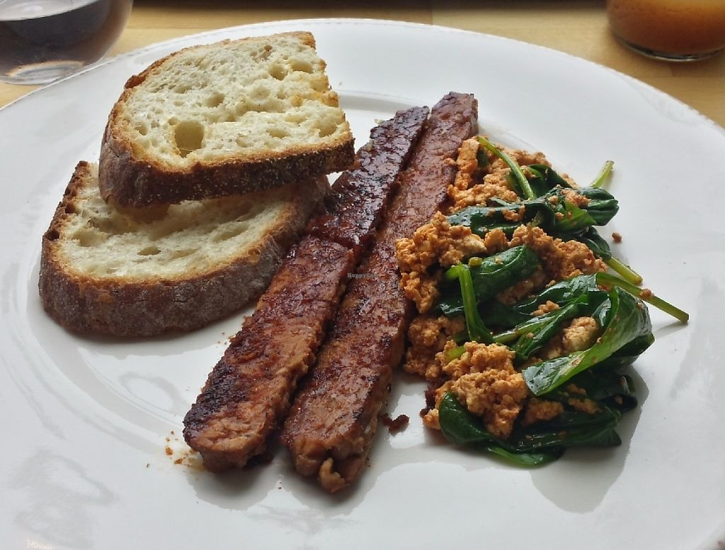 """Photo of OliBea  by <a href=""""/members/profile/Jedi_knt"""">Jedi_knt</a> <br/>Tempeh bacon, tofu scrambled with spinach,  and sourdough toast <br/> June 22, 2016  - <a href='/contact/abuse/image/74798/224732'>Report</a>"""
